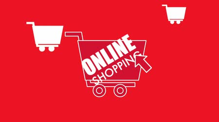 add to cart : online shopping cart click red background animation hd Stock Footage