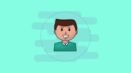 caricatura : smiling businessman portrait character animation hd Stock Footage