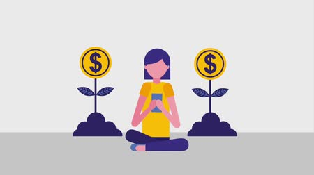 цент : woman sitting using smartphone and plants growth coins animation hd