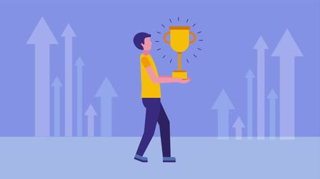 primeiro plano : businessman holding trophy and financial arrows animation hd