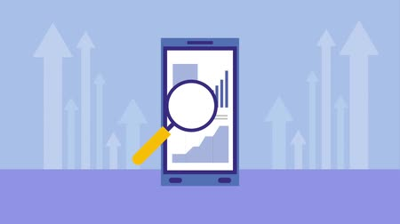 loupe : smartphone business report magnifying glass animation hd