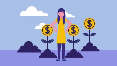human interest : business woman with plants growth coins money animation hd