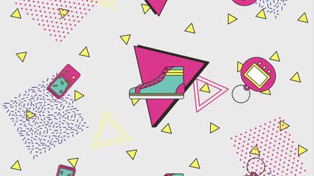 скрепки : memphis vintage game sneaker abstract geometric animation hd