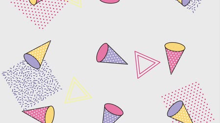 clipe de papel : memphis 90s style retro shapes geometric pattern animation hd Vídeos