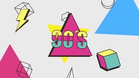 plakát : memphis motion shapes geometric 90s style animation hd