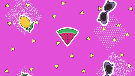 tekrarlama : memphis geometric shapes retro patches decoration pop art animation hd Stok Video