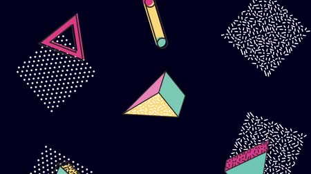 dokulu : memphis geometric shapes decorative background in motion animation hd