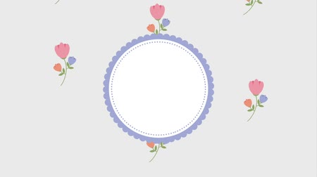 premium : flowers round frame template floral decoration animation hd