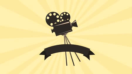 sinematografi : retro movie film projector reel strip banner animation hd