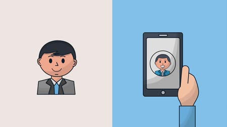 clipe : hand holding smartphone people business man animation hd