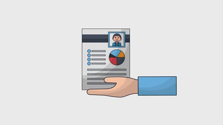 recrutamento : hand human resources select check mark resume animation hd Vídeos