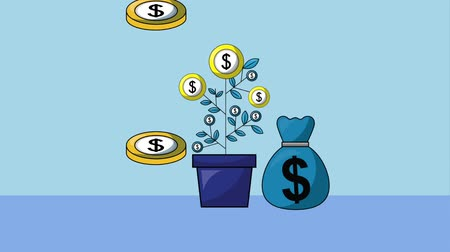 pound : plant coins dollar stacked and money bag foreign exchange animation hd Stock Footage