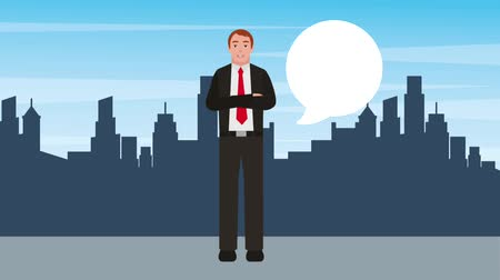 cravatta : businessman crossed arms talking with city background animation hd