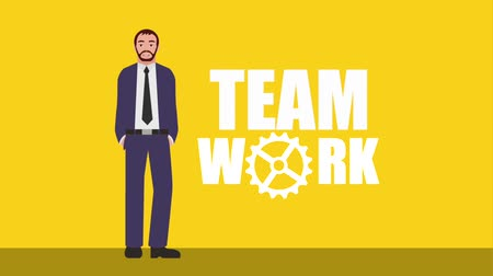 palavras : businessman in suit teamwork words animation hd Vídeos