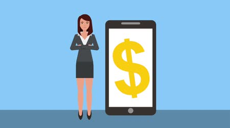 banknotlar : businesswoman with smartphone dollar money symbol animation hd Stok Video