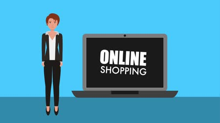 nakupování : businesswoman laptop online shopping concept animation hd