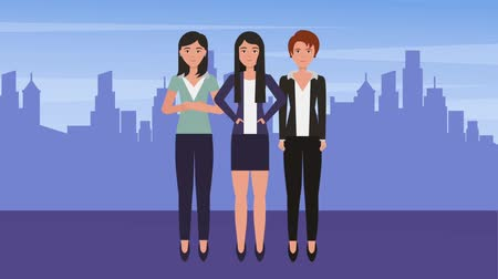 parceria : group business women team together in the city animation hd Vídeos
