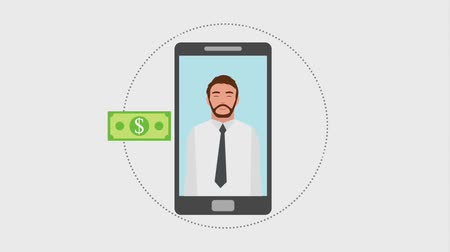 banknotlar : beard man in smartphone online shopping banknote gift animation hd
