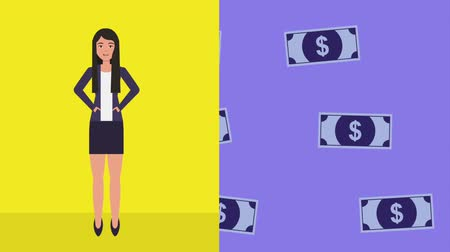 banknotlar : woman online shopping animation hd Stok Video