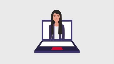 klick : businesswoman on screen laptop hand clicking animation hd