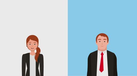 munkatársa : businesswoman and businessman portrait characters animation hd Stock mozgókép