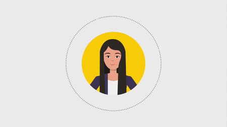 awatar : round portrait business woman character animation hd