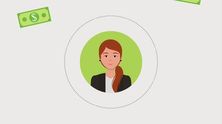 tempo : round portrait business woman money banknote animation hd