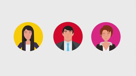 marco internacional : businessmen and businesswomen teamwork round frames animation hd
