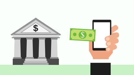 clipe : hand with smartphone banking banknote money animation hd