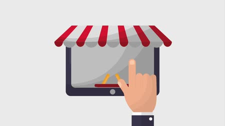 koszyk zakupy : tablet computer online shopping basket bank card payment animation hd Wideo