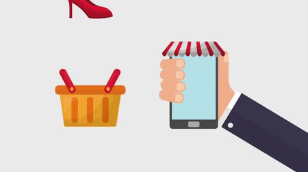 kravata : hand with cellphone online shopping basket animation hd