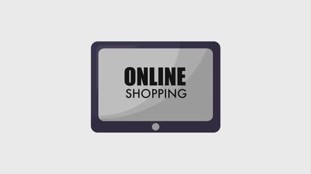 jelölőnégyzetet : tablet online shopping hands with gift box check mark animation hd Stock mozgókép