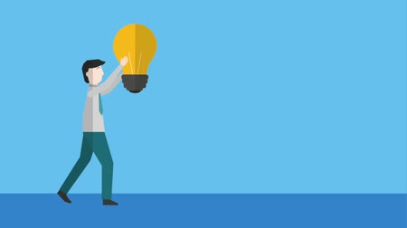 fikstür : businessman holding light bulb turning on and off animation hd Stok Video