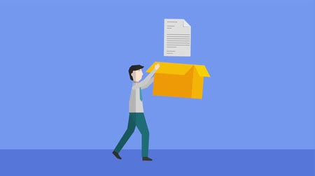 workload : businessman holding cardboard box with document paper animation hd