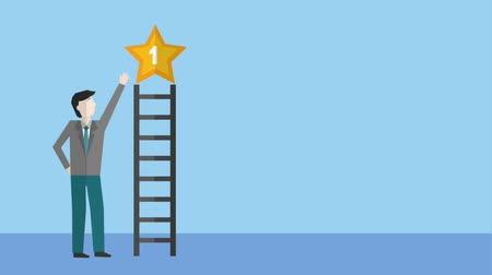 fırsat : businessman points star award on top of the ladder animation hd Stok Video