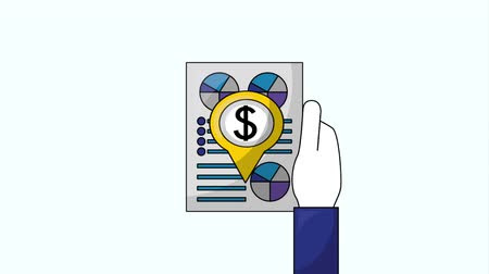 pound : hand with document report dollar euro yen business animation hd Stock Footage