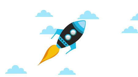 crescimento : launching rocket startup progress business concept animation hd