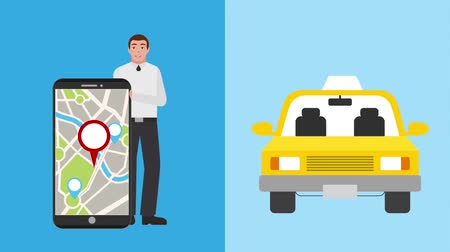 sipariş : man with mobile navigation map taxi app animation hd