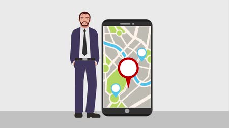 on the phone : bearded man with smartphone map navigation pointer animation hd Stock Footage