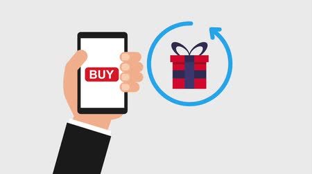 clipe : hand holding cellphone buy online money animation hd