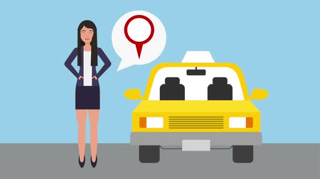 navigator : woman with pointer location service taxi animation hd
