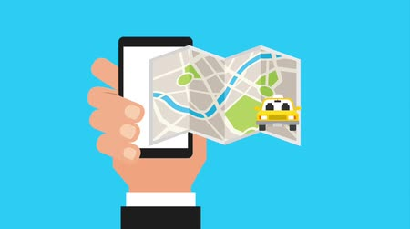 samochód : hand holding mobile gps navigation map taxi car animation hd