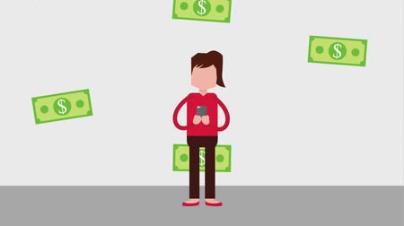 dama : woman using mobile payment online animation hd