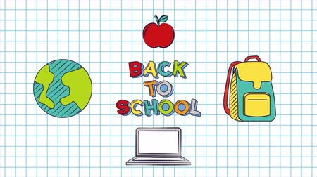 возвращение : Back to School 4k Animation with icons