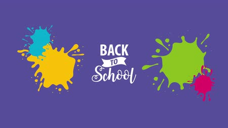 de volta : Back to school flat animation, 4k video animation footage