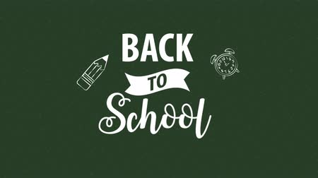 go to school : Back to school flat animation, text on green chalkboard, 4k video animation footage