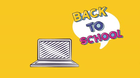 de volta : Back to school video animation laptop whit text bubble