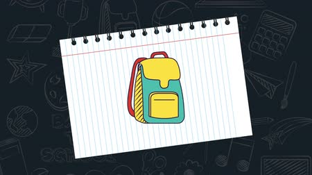 borracha : Back to school video animation, green bag whit yellow nex to a book and pencil Stock Footage