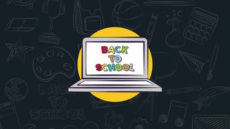 borracha : Back to school video animation laptop whit text whit backgroud Stock Footage