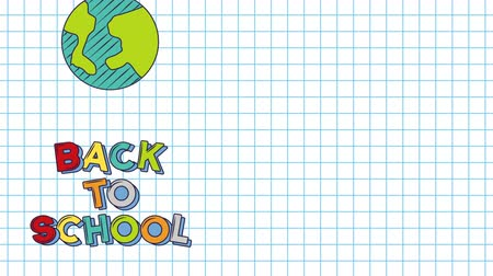 espaço de texto : Back to school video animation, green bag whit yellow and text